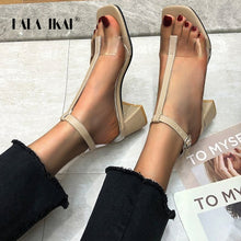 Load image into Gallery viewer, LALA IKAI Women 2020 Summer Fashion Sandals Open Toe PU Leather Transparent Buckle High Square Heels Shoes Women XWC6781-4