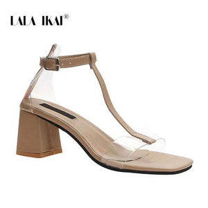 LALA IKAI Women 2020 Summer Fashion Sandals Open Toe PU Leather Transparent Buckle High Square Heels Shoes Women XWC6781-4