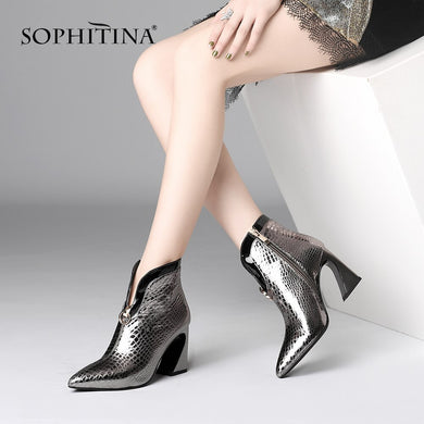 SOPHITINA Fashion Women Boots Winter Sexy Pointed Toe 8.5 cm Super High Heel Shoes Casual Solid Genuine Leather Lady Boots PO235