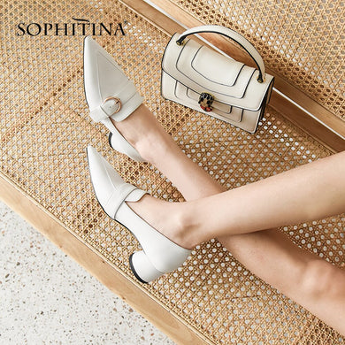 SOPHITINA Fashion Genuine Leather Pumps Various Color Shallow Round Heel Sexy Casual Shoes Handmade Women's Buckle Pumps MO52
