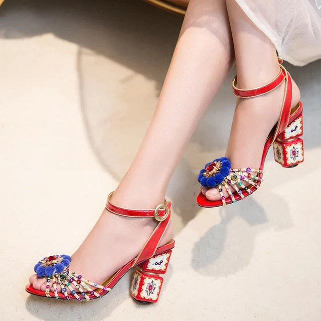 2019 Luxury Totem Block Heel Sandals Sequined Pom Pom Embellished Open Toe Summer Shoes Women - Y O L O Fashion Store