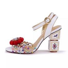 Load image into Gallery viewer, 2019 Luxury Totem Block Heel Sandals Sequined Pom Pom Embellished Open Toe Summer Shoes Women - Y O L O Fashion Store