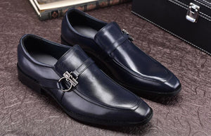 Man Buckles Black Dark Blue Slip On Real Leather Fashion Dress Wedding Oxfords Shoes 2018 Men Spring Autumn Leather Oxfords