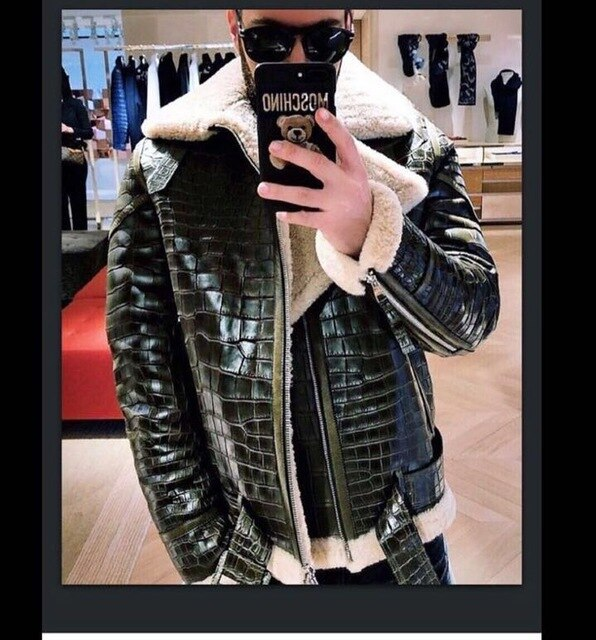 Arlenesain custom 2019 Real sheepskin leather fur men jacket