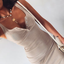 Load image into Gallery viewer, WannaThis Knee-Length Dress Knitted Elastic Sleeveless Bodycon elegant Women 2019 Summer Sexy V-Neck Button Party Slim Dresses