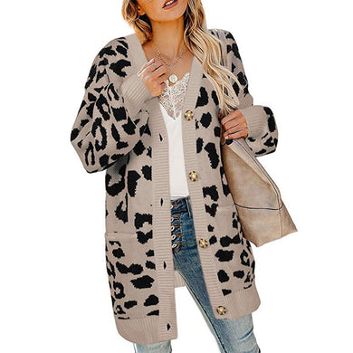 Vintage Leopard Print Women's Long Cardigans Autumn Winter Single Breasted Long Sleeve Knitted Sweater Coat Causal Outwear Tops
