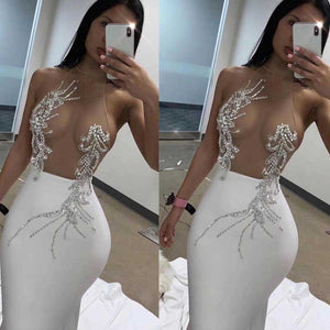 Wholesale 2020 New woman's dress black White Mesh perspective Sexy nightclub celebrity cocktail party bandage dress