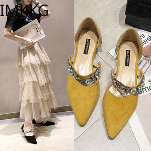 Summer Women Flat Shoes Crystal Pointed Toe Flats Shoes Elegant Lady shoes