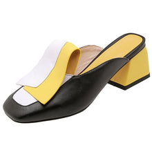 Load image into Gallery viewer, FEDONAS Fashion Mixed Colors Pu Leather Women Pumps Classic Rome Square Toe Hoof Heels Summer Sandals Mules Casual Shoes Woman