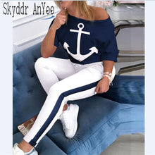 Load image into Gallery viewer, 2 Piece Set Tracksuit Women Boat Anchor Print Two Piece Set Top And Pants Femme Clothes Elastic Waist Long Pants Set Lounge Wear