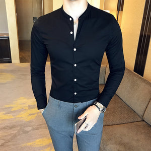 High Quality Men Black Casual Shirt Long Sleeve White Cotton Dress Shirts Slim Fit Male Stand Collar 2020 Spring Solid Color