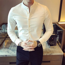 Load image into Gallery viewer, High Quality Men Black Casual Shirt Long Sleeve White Cotton Dress Shirts Slim Fit Male Stand Collar 2020 Spring Solid Color