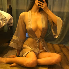 Load image into Gallery viewer, Sexy Nightgown Underwear Gray Mesh Cardigan Style Sleeves Robe Clothes See-through Bathrobe Kimono Robe Silk Robes for Women