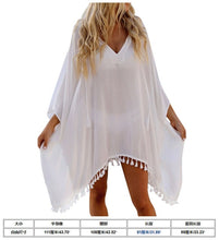 Load image into Gallery viewer, Womens Beach Dress Bikini Cover Up Swimwear Maxi Wrap Skirt Sarong Kimono Kaftan Summer Chiffon Tassel Hooded Batwing Sleeve Top
