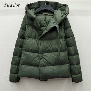 Fitaylor New Winter 90% Ultra Light White Duck Down Jacket Women Short Down Coat Parkas Hooded Parkas Warm Female Snow Outwear