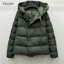 Load image into Gallery viewer, Fitaylor New Winter 90% Ultra Light White Duck Down Jacket Women Short Down Coat Parkas Hooded Parkas Warm Female Snow Outwear