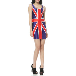 Summer Style Women Bodycon Dress Sexy 2020 New Arrival Crew Neck Sleeveless UK Flag Mini Dress Casual Sheath Slim Pencil Dress
