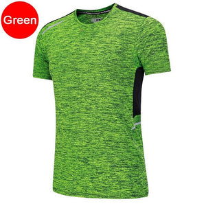 Men Workout T Shirts Quick Dry Short Sleeve Outdoor Training Sportswear Tee Breathable Mesh Running Bodybuilding Shirt Man