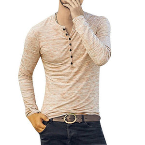 HEFLASHOR 2019 New Henley T-shirts Men Solid Long Sleeve Fashion Design Slim  Button Casual Outwear Popular T Shirt For Male 3XL