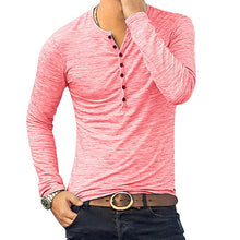 Load image into Gallery viewer, HEFLASHOR 2019 New Henley T-shirts Men Solid Long Sleeve Fashion Design Slim  Button Casual Outwear Popular T Shirt For Male 3XL