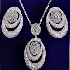 GODKI New Luxury Exclusive Circle Necklace Earring Sets For Women Wedding Bridal Cubic ZirconDubai High End Jewelry Set 2019
