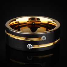 Load image into Gallery viewer, 2018 New Arrival High Quality Mens Wedding Bands 6/8mm Black Tungsten Rings with Gold Groove CZ Stone Size 5-12.5 Free Shipping
