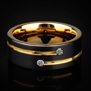 2018 New Arrival High Quality Mens Wedding Bands 6/8mm Black Tungsten Rings with Gold Groove CZ Stone Size 5-12.5 Free Shipping