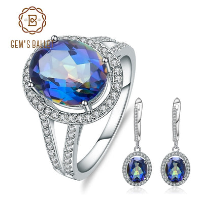 GEM'S BALLET Hot 8.05Ct Oval Natural Blueish Mystic Quartz Jewelry Set Popular 925 Sterling Silver Earrings Ring Set For Women