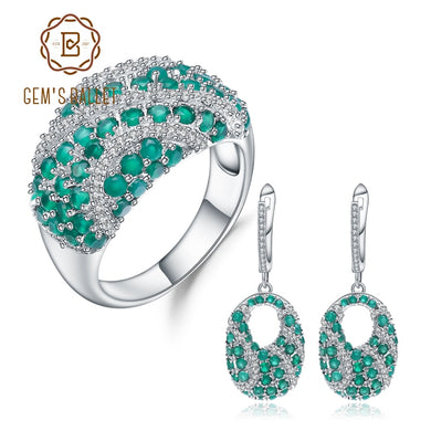 GEM'S BALLE Natural Green Agate Ring Earrings Set 925 Sterling Silver Gemstone Vintage Jewelry Set For Women Luxury Jewelry
