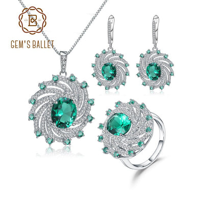 GEM'S BALLET Luxury Nano Emerald Vintage Jewelry Set 925 Sterling Silver Ring Earrings Pendant Sets For Women Fine Jewelry