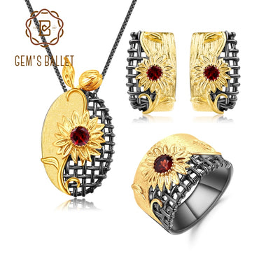GEM'S BALLET 925 Sterling Silver Handmade Sun flower Jewelry Set 1.07Ct Natural Red garnet Ring Earrings Pendant Sets For Women