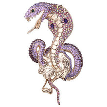 Load image into Gallery viewer, Tuliper брошь женская Retro Animal Snake Brooch Pins Crystal Brooch Pins For Women Party Jewelry Purple Enamel accesorios mujer