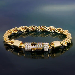 6mm Rope Chain Bracelet  Gold Rapper Swag Twisted Bracelet Hip Hip Bracelet Stainless Steel for Men and Women