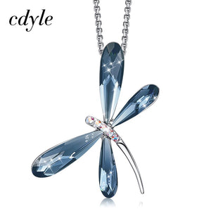 Cdyle Elegant Fashion Blue Crystal Dragonfly Bridal Wedding Pendant Charm Necklace Chain for Women Jewelry Neck Accessories