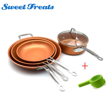 Sweettreats A Set 8/10/12 inch Non-stick Copper Frying Pan +Mini Milk Heating Pan+1 pc Utility Healthy Food