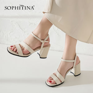 SOPHITINA New Women's Sandals Comfortable High Quality Cow Leather Fashion Ankle Wrap Shoes Sweet Style Hot Sale Sandals SO17