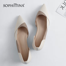 Load image into Gallery viewer, SOPHITINA Fashion Patchwork Women's Flats High Quality Genuine Leather Comfortable Shoes Slip-on Pointed Toe Shallow Flats MO160