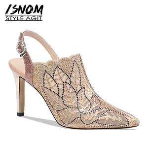 ISNOM Mesh Crystal 2019 New Pumps Women Thin High Heels Pumps Wedding Shoes Female Pointed Toe Slingback Shoes Woman Summer