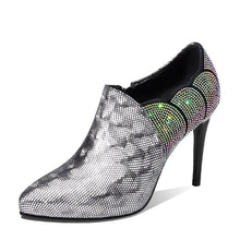 Load image into Gallery viewer, ISNOM Crystal High Heels 2019 Spring Women Pumps Pointed Toe Leather Shoes Woman Zip Footwear Fashion Ladies Bling Shoes Bling