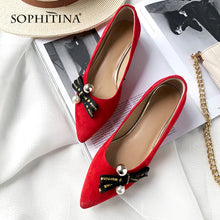 Load image into Gallery viewer, SOPHITINA New Genuine Leather Pumps Fashion Butterfly-knot Slip-on Sexy Pointed Toe Spring Shoes Comfortable Casual Pumps SO63