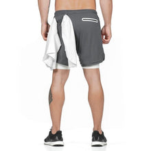 "Load image into Gallery viewer, 2019 Men's 2 in 1 Shorts Workout Running Training Gym 7"" Short with Towel Loop"