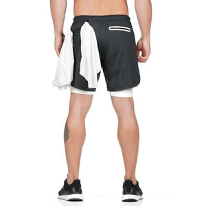 "2019 Men's 2 in 1 Shorts Workout Running Training Gym 7"" Short with Towel Loop"