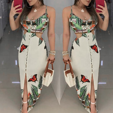 2019 Women Sex Hollow Out Butterfly Printed Long Dresses Women Fashion Clubwear Strap Bodycon Printed Beach Sundress Vestidos