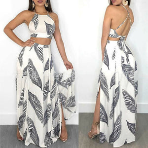 2019 Fashion Trend 2PCS Women Sets Summer Beach Holiday Sexy Crop Tanks Top Long Skirt Suit Sexy Casual Party Club Outfit