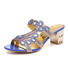 Load image into Gallery viewer, Lucyever Women Summer Slipper Sandals Fashion Hgih Heels Open Toe Crystal Sandals Ladies Rhinestone Bohemia Beach Flip Flops