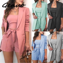 Load image into Gallery viewer, Genuo New Fashion 3 Piece Set Summer Women Fashion Lace Up Shorts Slim Fit Bra Tops Long Sleeves Coat Loose Suit Jacket