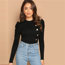 Load image into Gallery viewer, SHEIN Black Elegant Button Front Leg-of-mutton Sleeve Round Neck Slim Fit Tee 2018 Autumn Workwear Women Tops And T shirt