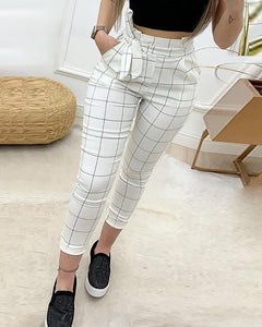 2020 Spring Women Elegant Cropped Pocket Pants Female Fashion White High Waist Grid Paperbag Waist Casual Pants