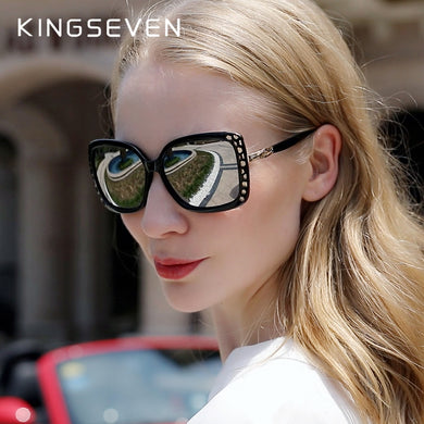 KINGSEVEN Elegant Young Women's Glasses Polarized Sunglasses Gradient Lens Mirror Eyewear Butterfly Style N7215