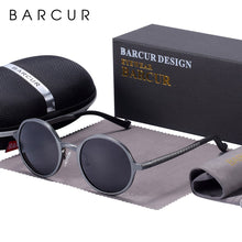 Load image into Gallery viewer, BARCUR Polarized Round Sunglasses Luxury Brand Glasses Retro Vintage Sunglasses UV400 Retro Style